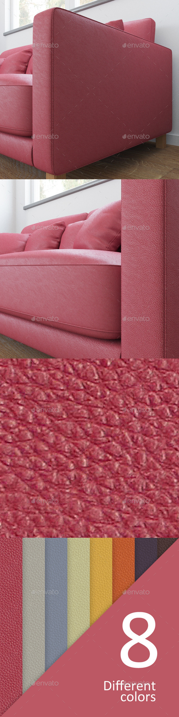 8 colors leather textures - 3DOcean Item for Sale