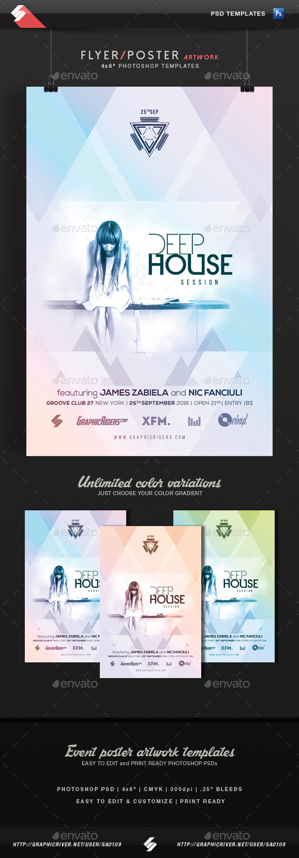 Deep House Session - Event Flyer Template - Clubs & Parties Events