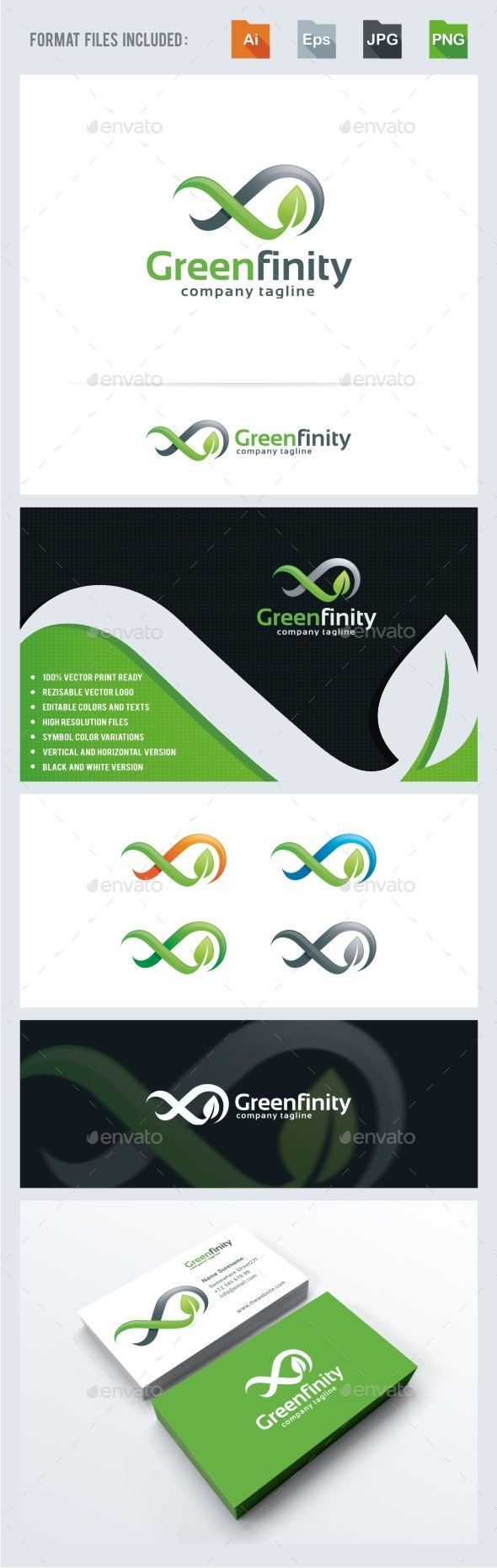 Green Infinity Logo Template - Nature Logo Templates