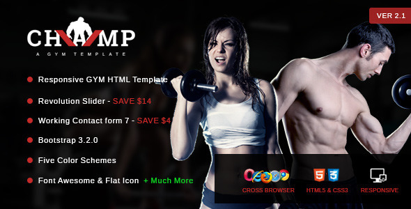 Champ – Gym, Fitness & Yoga HTML Template