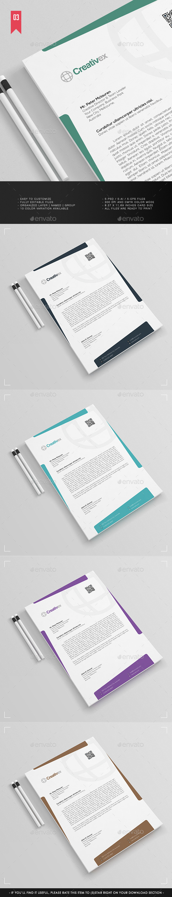 A4 - Business Letterhead V.003 - Stationery Print Templates