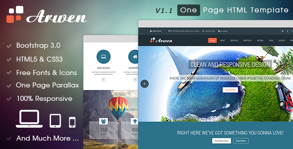 Arwen One Page Html Template By Idealtheme Themeforest