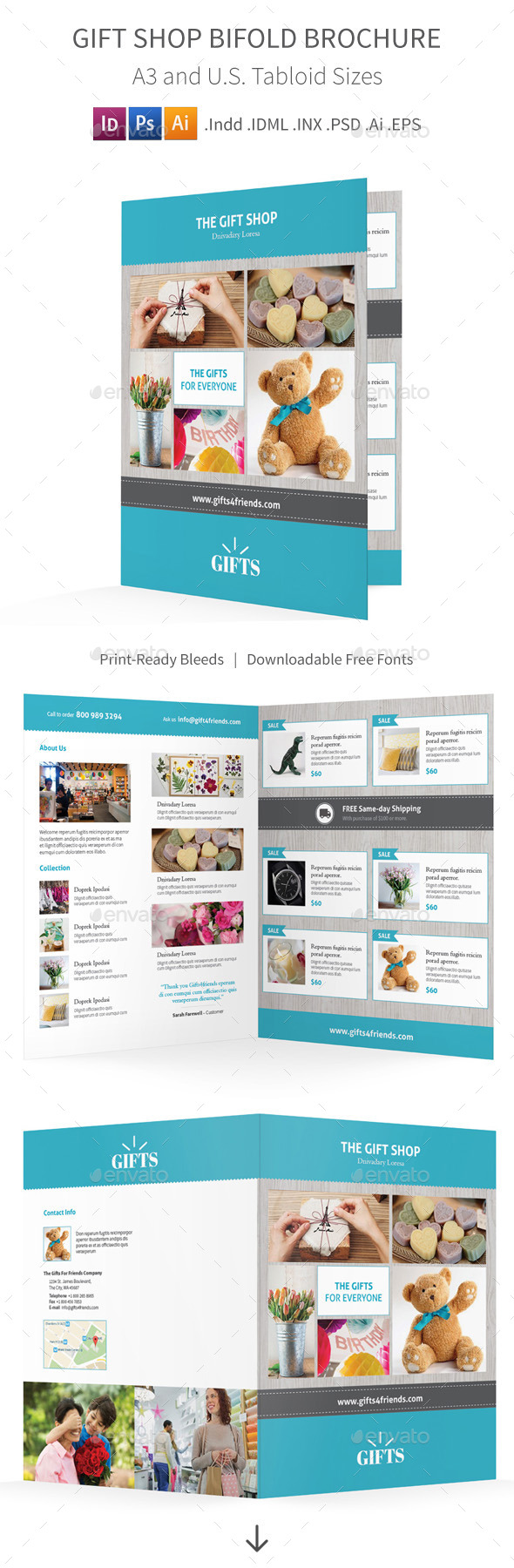 Gift Shop Bifold / Halffold Brochure - Informational Brochures