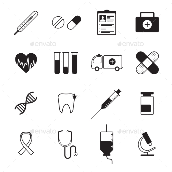 Medicine Icons Set Black - Objects Icons