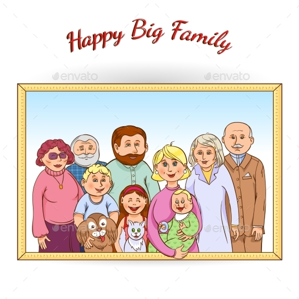 Happy Family Framed Portrait  - People Characters