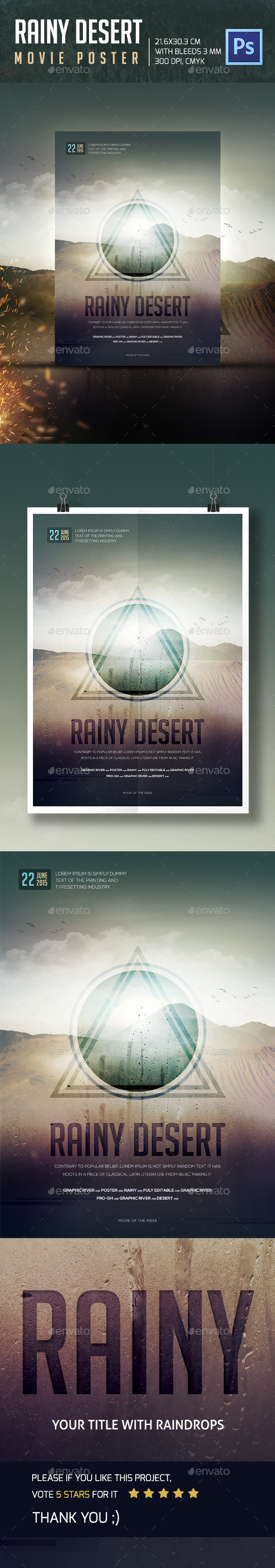 Rainy Desert Movie Poster - Events Flyers