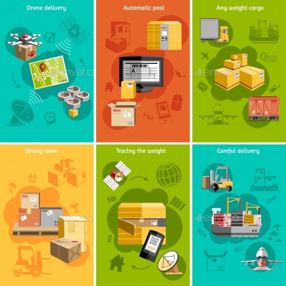 New Logistics Flat Icons Composition Poster - Concepts Business
