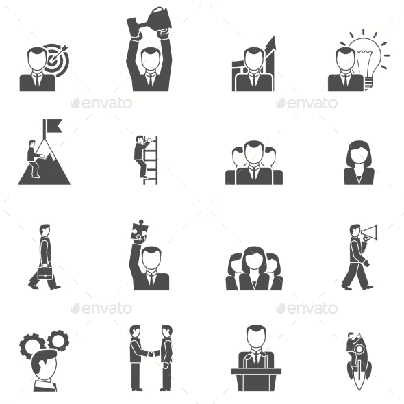 Leadership Black White Icons Set - Business Icons
