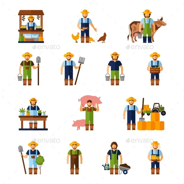 Farmers Icons Set - Industries Business