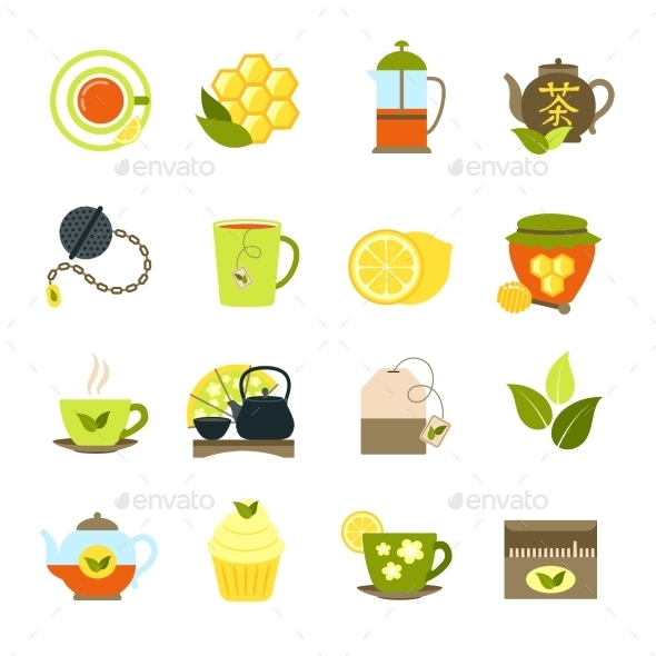 Tea Icons Set - Food Objects