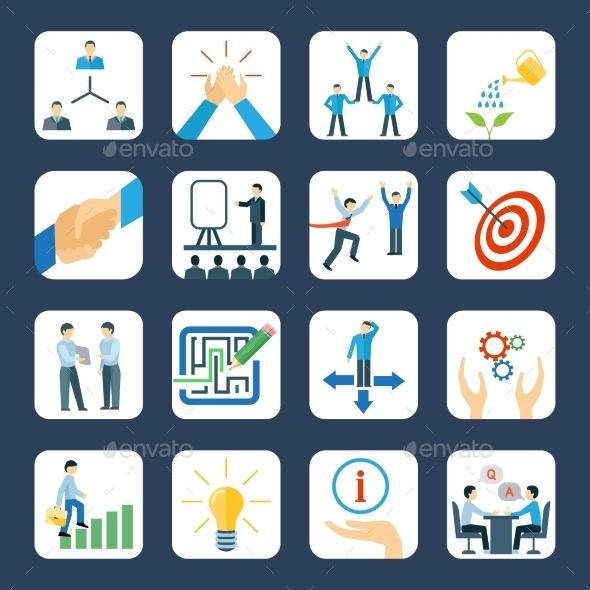 Mentoring Flat Icons Set - Business Icons