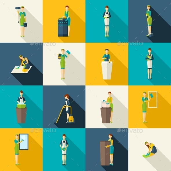 Cleaners Color Flat Icons Set - People Characters
