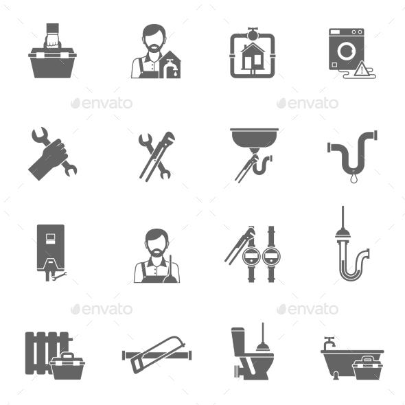 Plumber Icons Black - Miscellaneous Vectors