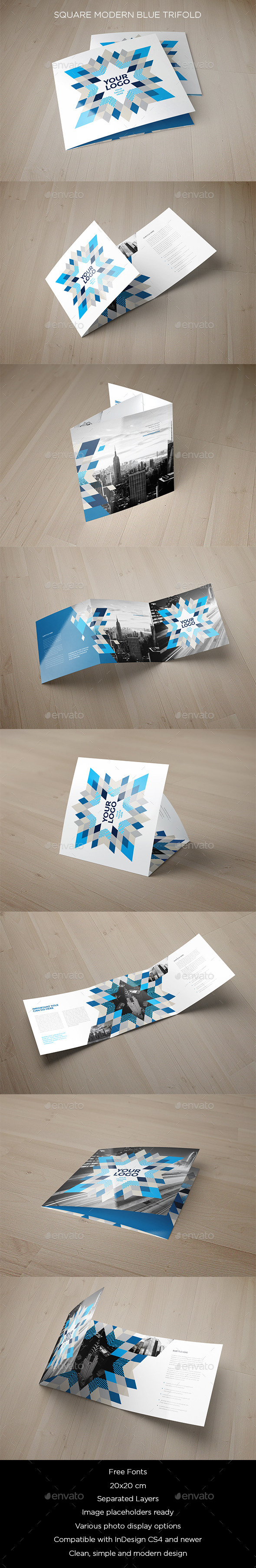 Square Modern Blue Trifold - Brochures Print Templates