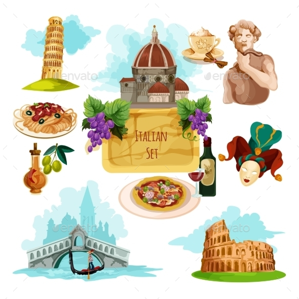 Italy Touristic Set - Travel Conceptual