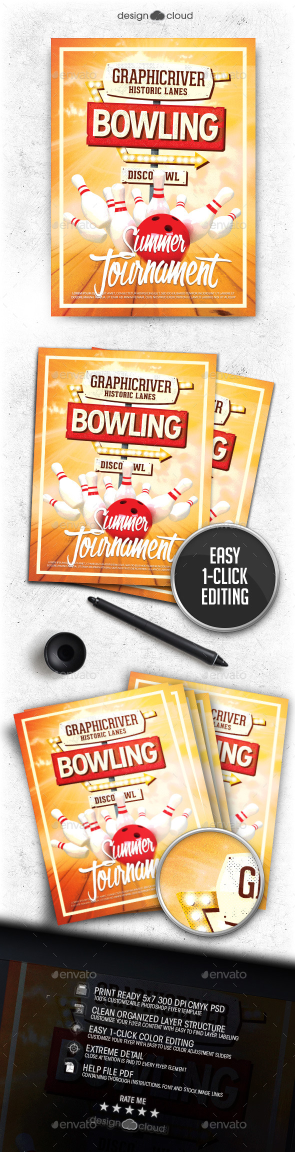 Bowling Night Flyer Template - Sports Events