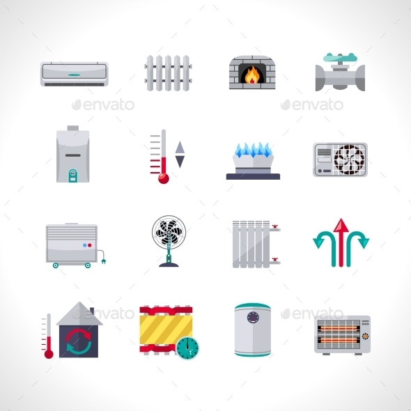 Heating Icons Set - Miscellaneous Icons