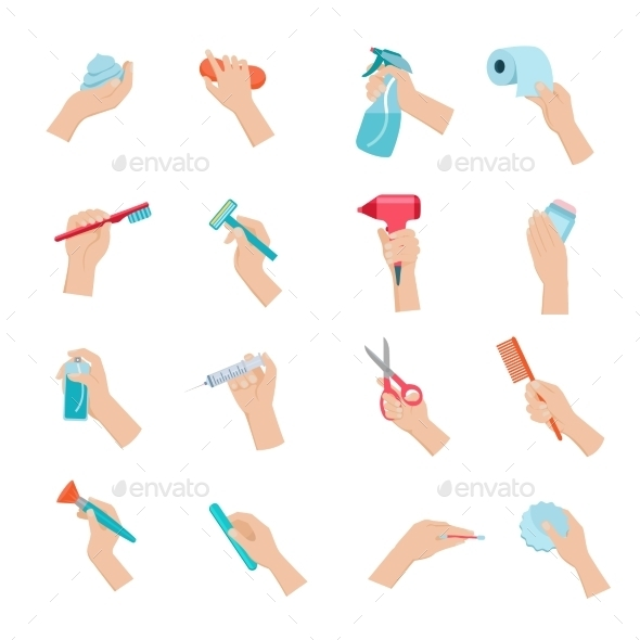 Hand Holding Objects Icons Set - Man-made objects Objects