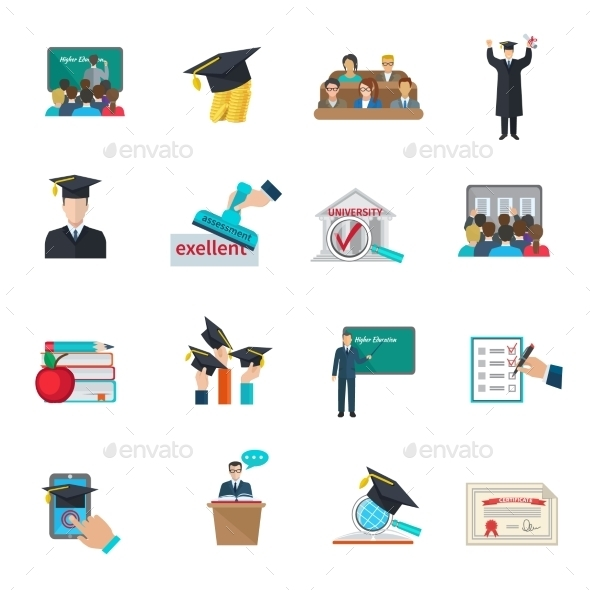 Higher Education Icons Set  - Miscellaneous Conceptual