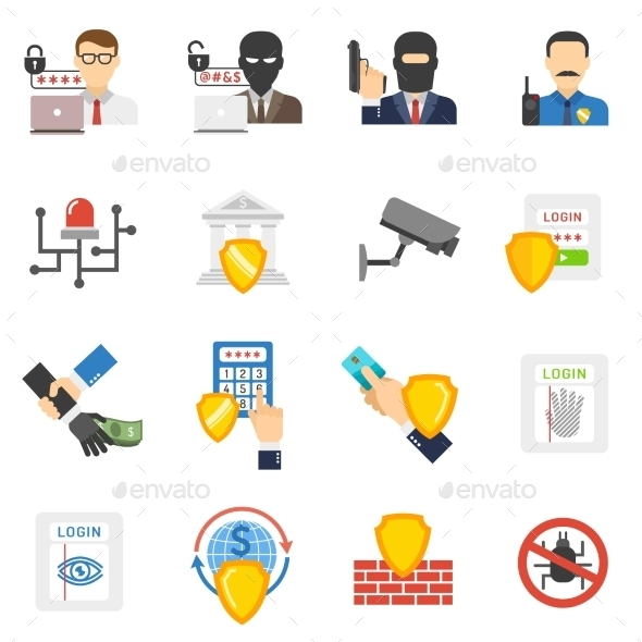 Bank Security Flat Icons Set - Technology Icons