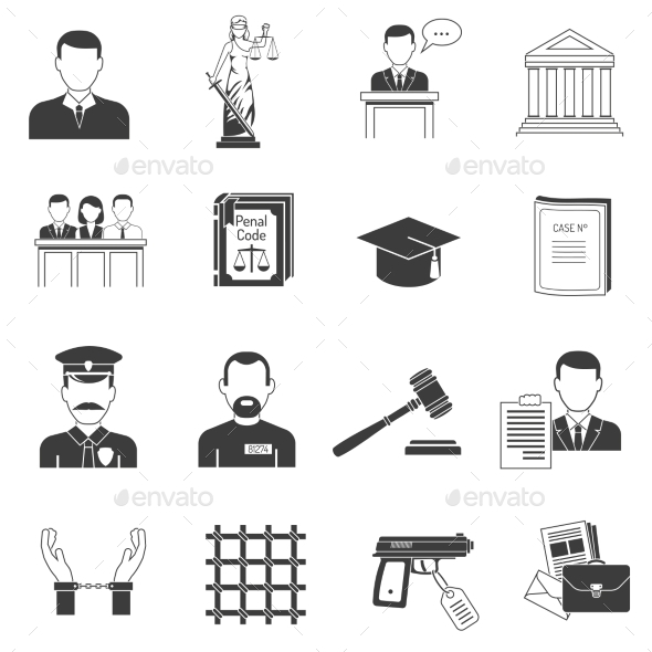 Justice Black Icons Set  - Miscellaneous Icons
