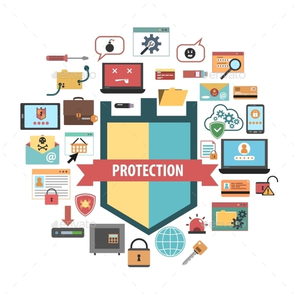 Computer Protection Security Concept  Icons - Computers Technology