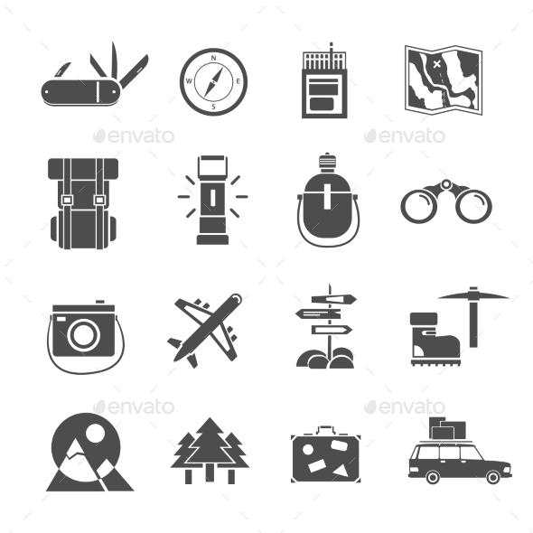 Hiking Icons Set Black - Objects Icons