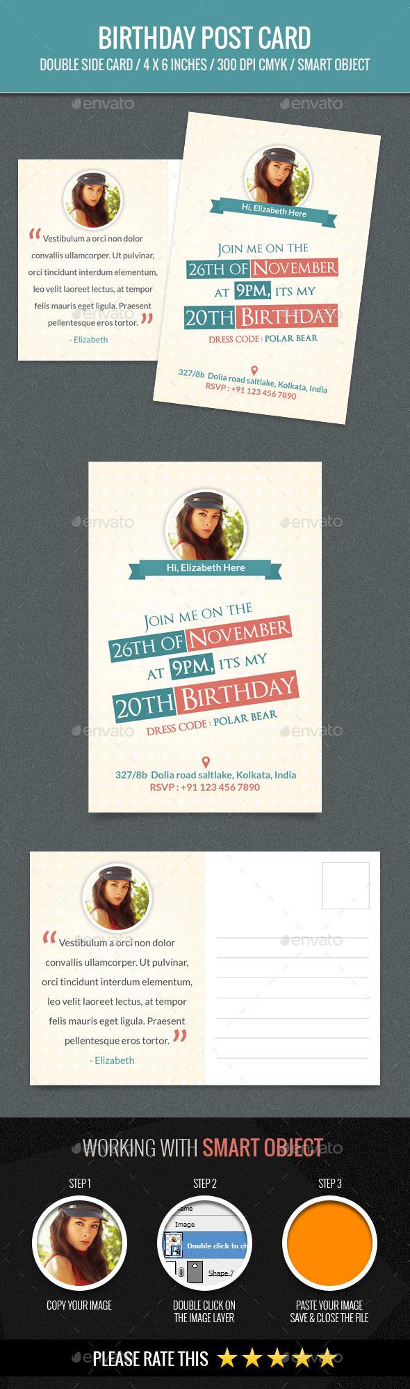Birthday PostCard Template - Birthday Greeting Cards