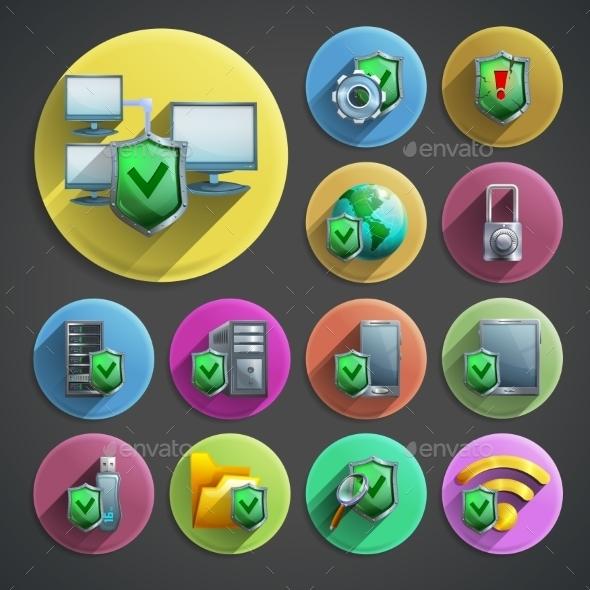Data Protection Icons Set  - Web Technology