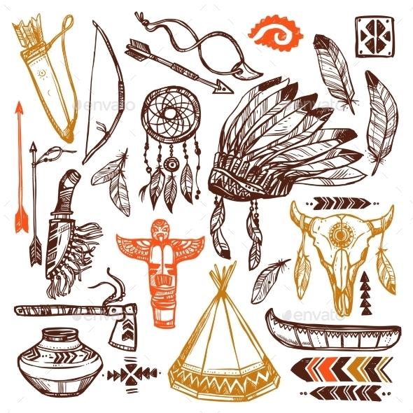 Native Americans Set - Miscellaneous Vectors