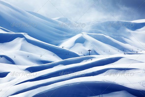 Winter mountain ski resort - Stock Photo - Images