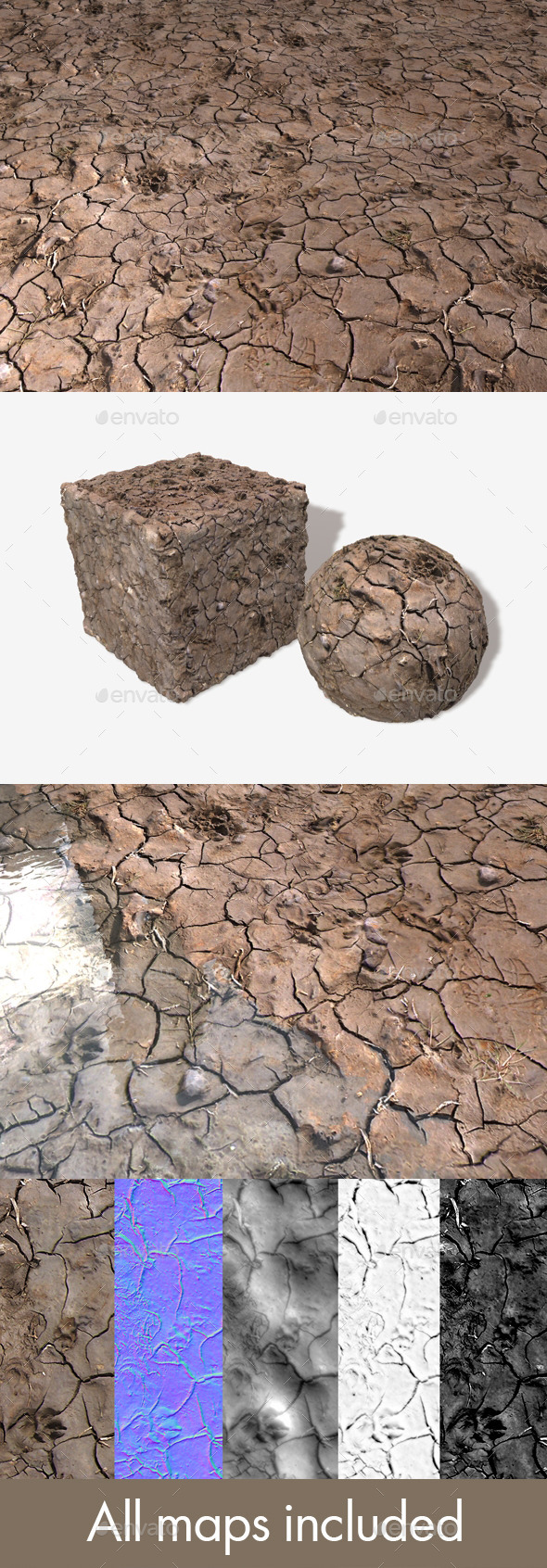 Dog Prints in Mud Seamless Texture - 3DOcean Item for Sale