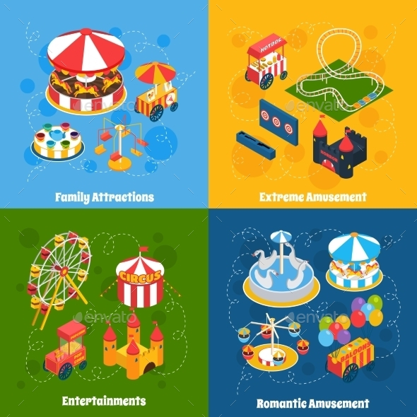Amusement Park Isometric - Miscellaneous Vectors