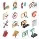 Support Isometric Icons Set