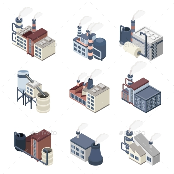 Building Industry Isometric - Buildings Objects