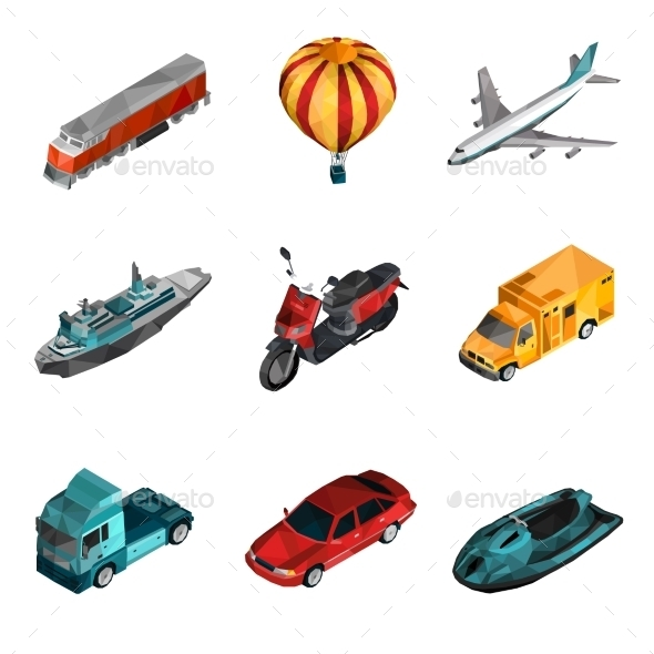 Transport Low Poly Icons - Travel Conceptual