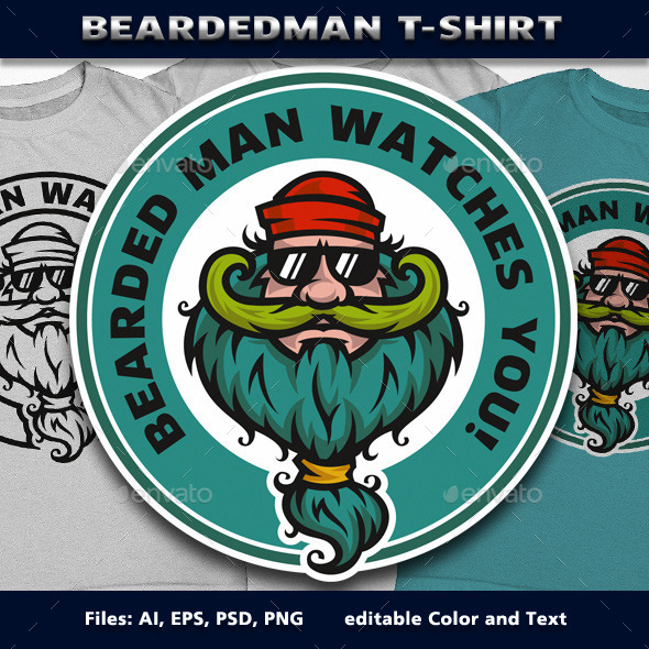 BeardedMan T-Shirt - Funny Designs