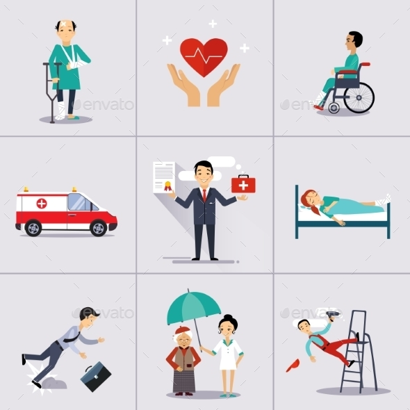 Insurance Character and Icons Template - People Characters