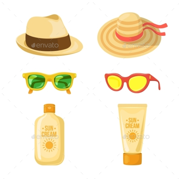 Sun Balm, Glasses and Hats - Travel Conceptual