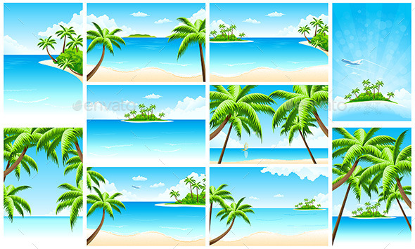 Set of Tropical Backgrounds with Seaside - Landscapes Nature