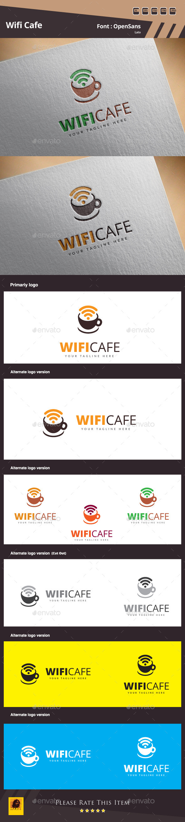 Wifi Cafe Logo Template - Symbols Logo Templates