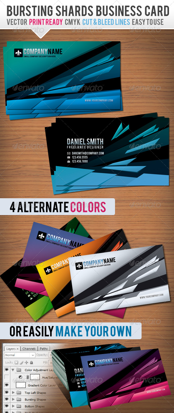 Bursting Shards Business Card - Creative Business Cards