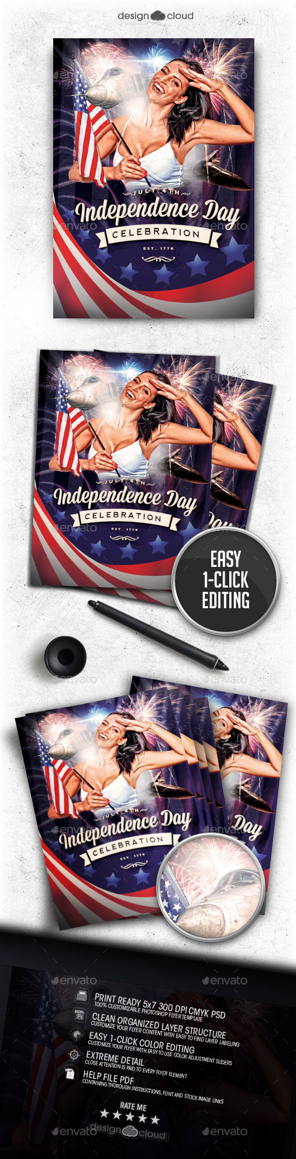 Independence Day - July 4 Vol 3 Flyer Template - Holidays Events