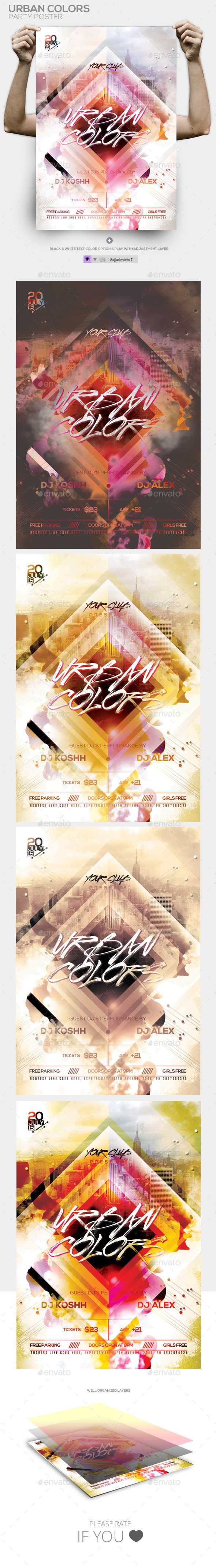 Urban Colors PSD Flyer / Poster Template - Clubs & Parties Events