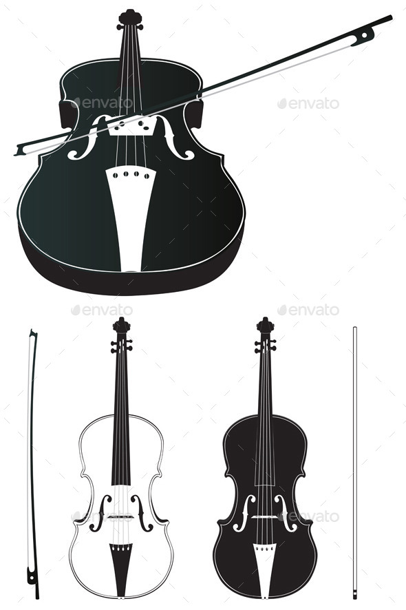 Violin Silhouette - Objects Vectors