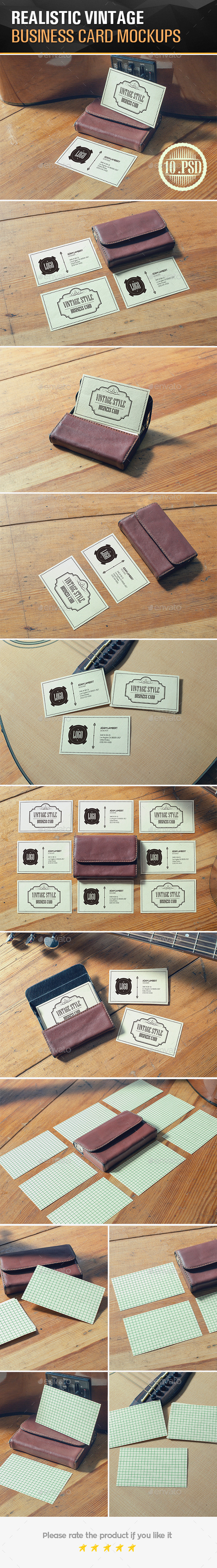 Realistic Vintage Business Card Mockups  - Business Cards Print