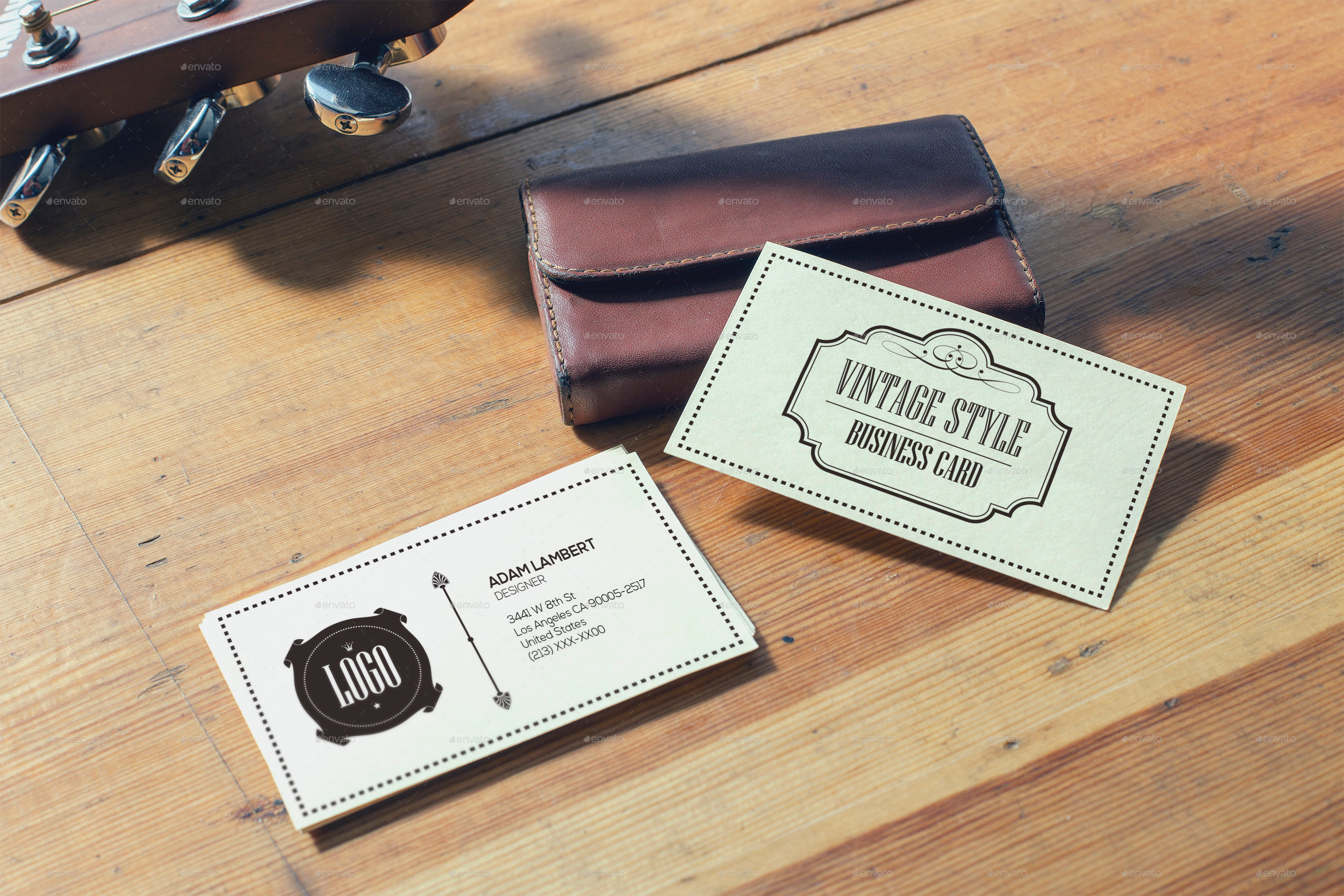 Realistic Vintage Business Card Mockups by Xepeec | GraphicRiver