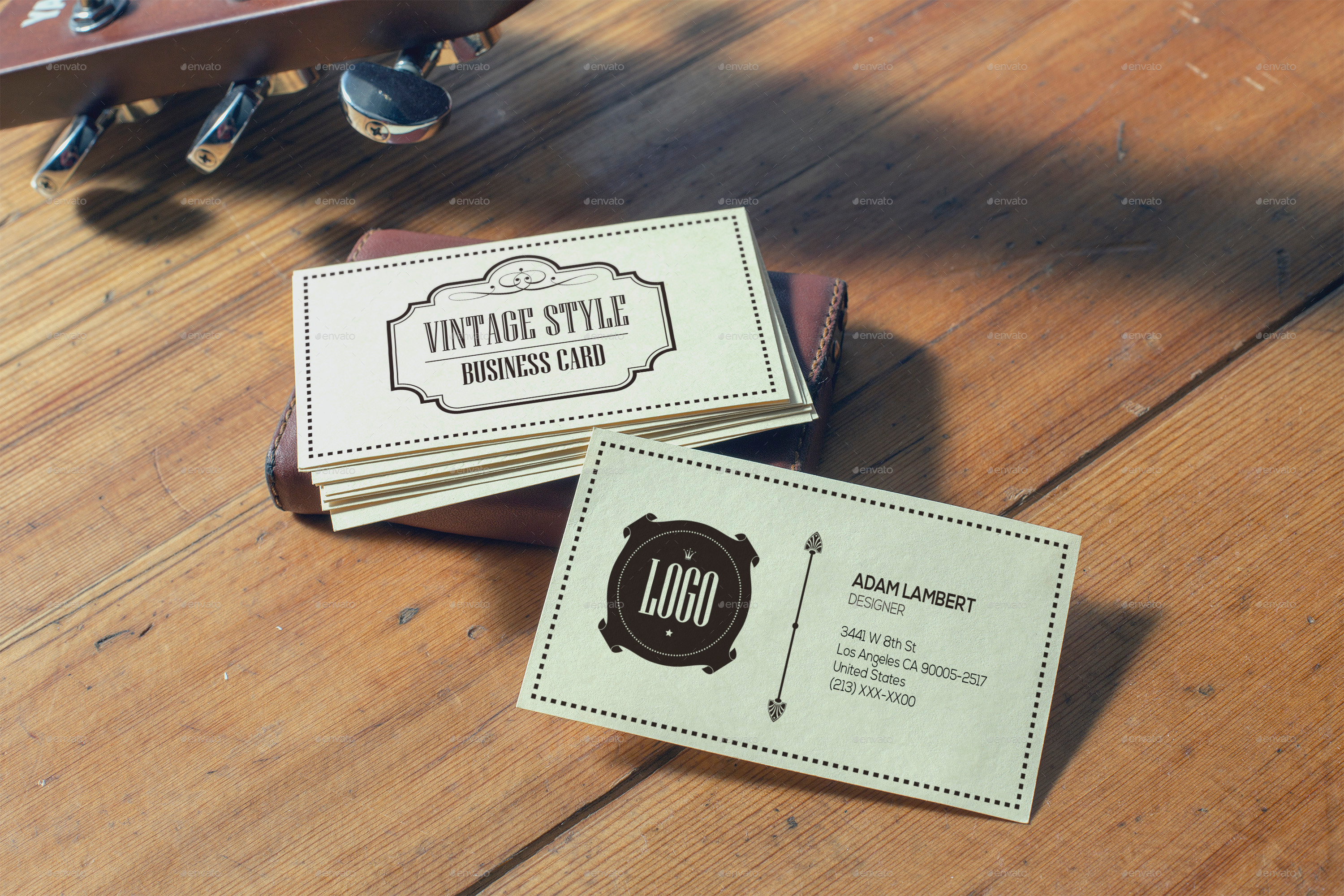 Realistic Vintage Business Card Mockups by Xepeec