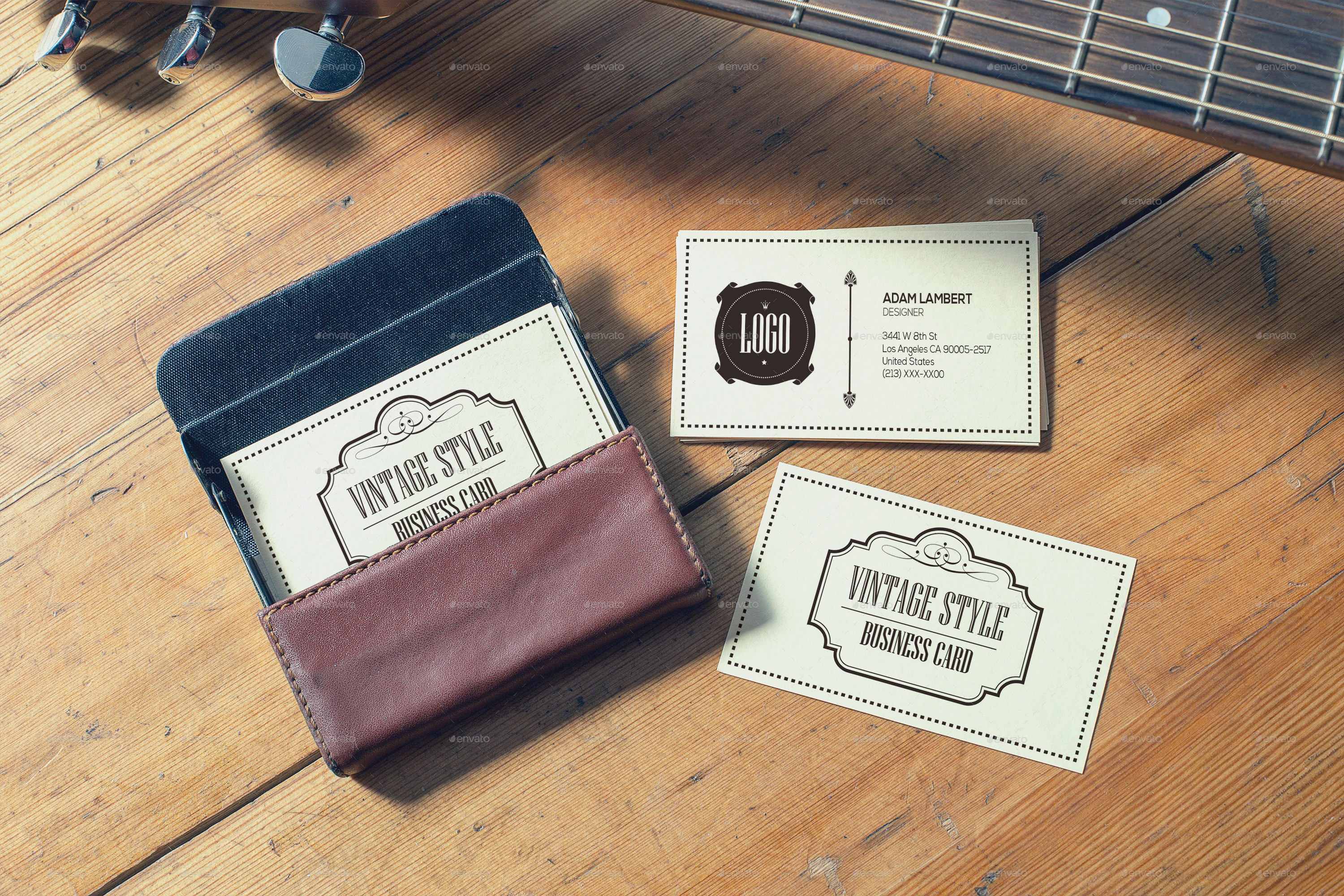 Realistic vintage business card mockups by xepeec graphicriver vintage business card mockups 7g reheart Gallery
