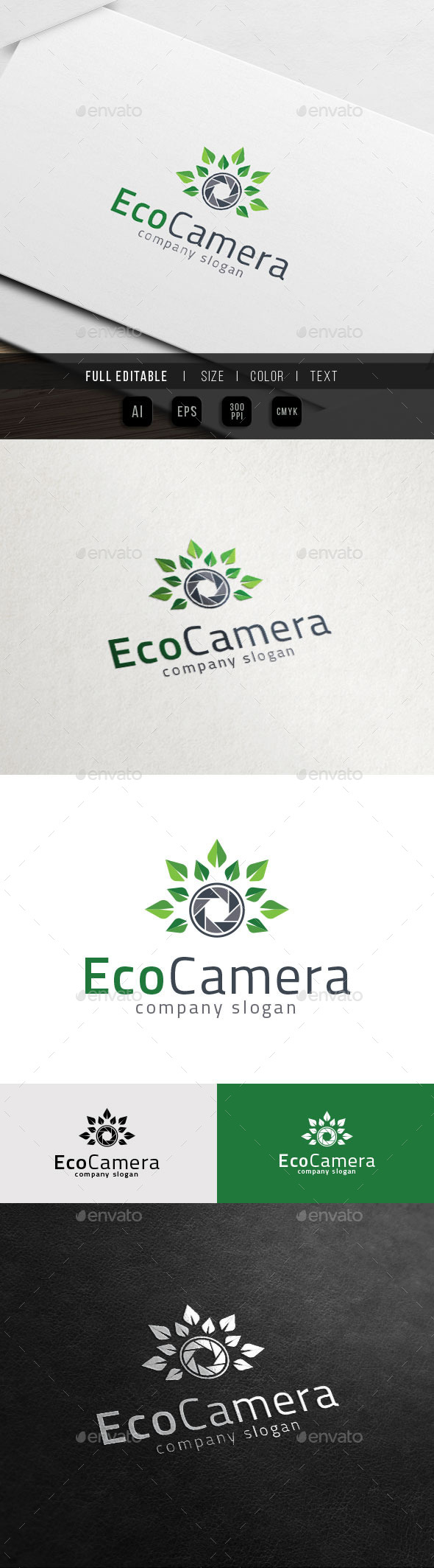 Eco Photography - Green Leaf Camera - Nature Logo Templates
